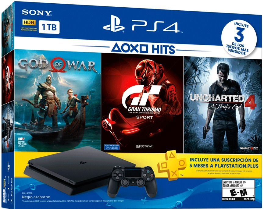 PlayStation 4 Slim 1 TB + 3 Juegos + Plus 3 Meses